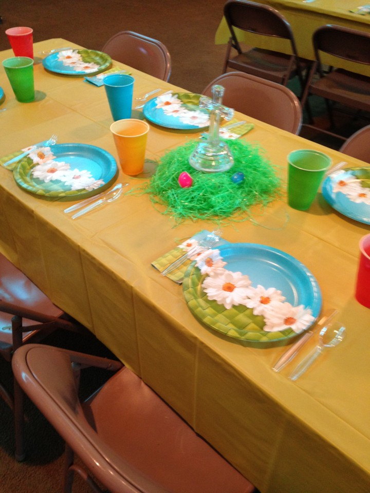 Tables Decorated for Easter